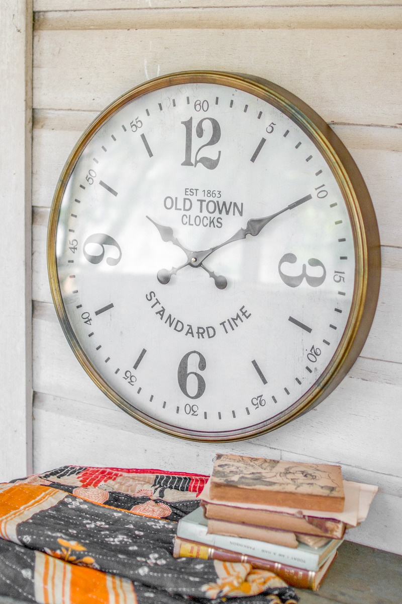 24 Large Vintage Style Wall Clock With Antique Gold Frame
