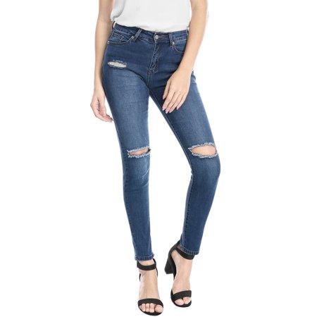 Unique Bargains Women Mid Rise Stretch Distressed Design Skinny Jeans Blue XL - image 6 de 7
