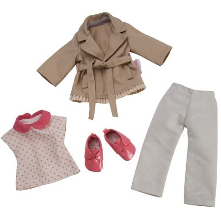 (Corolle Les Cheries Trench Coat and Denim and Derbies)