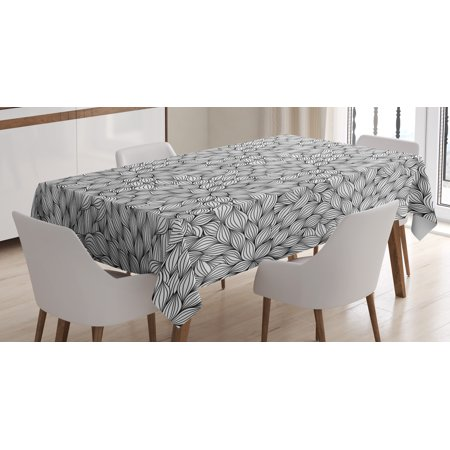Black And White Striped Tablecloths (Black and White Tablecloth, Line Art Style Foliage Pattern with Striped Leaves and Petals Botany Theme, Rectangular Table Cover for Dining Room Kitchen, 52 X 70 Inches, Black White, by)