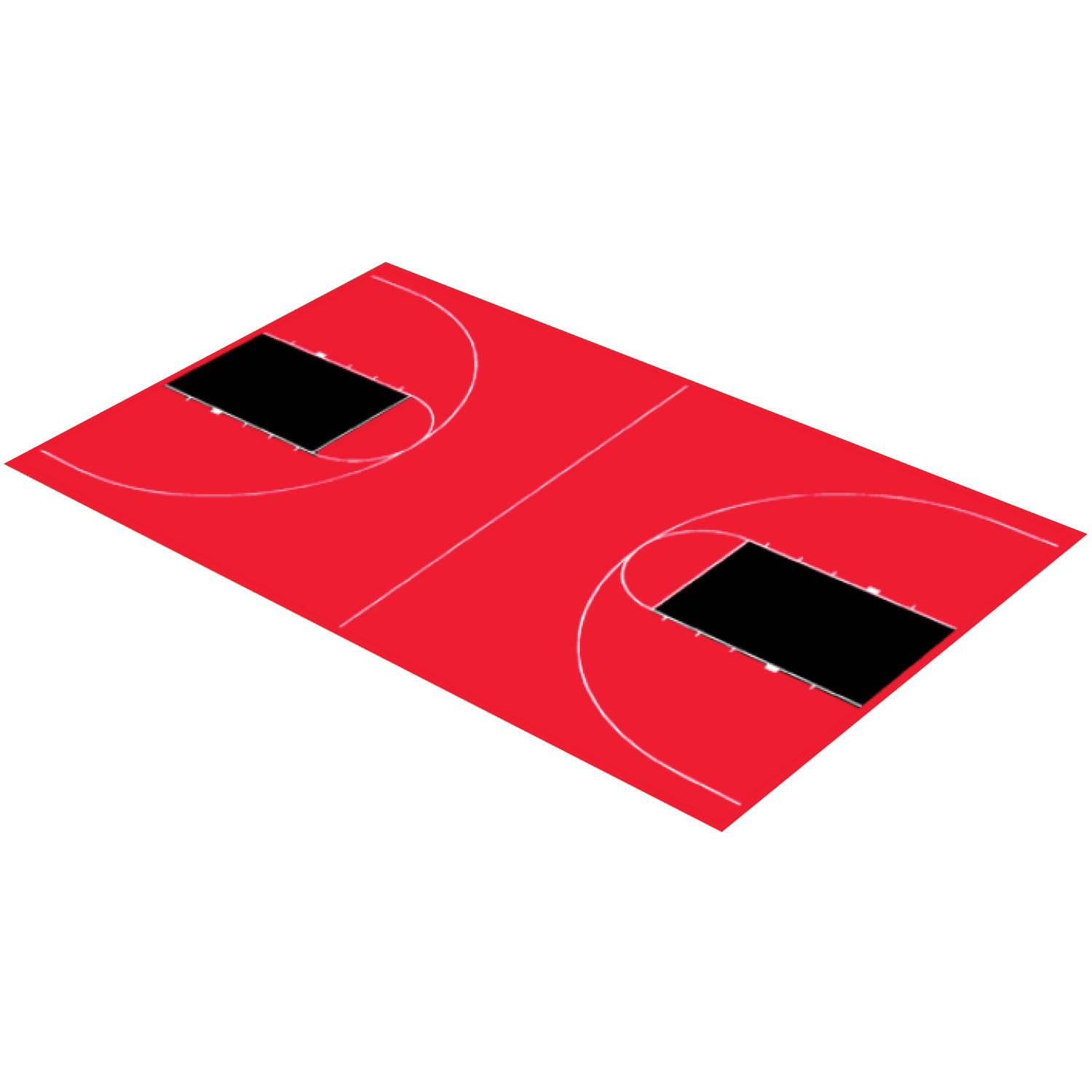 """DuraPlay Full Court Basketball Kit, 44'3"""" x 75'6"""", Red and Black"""