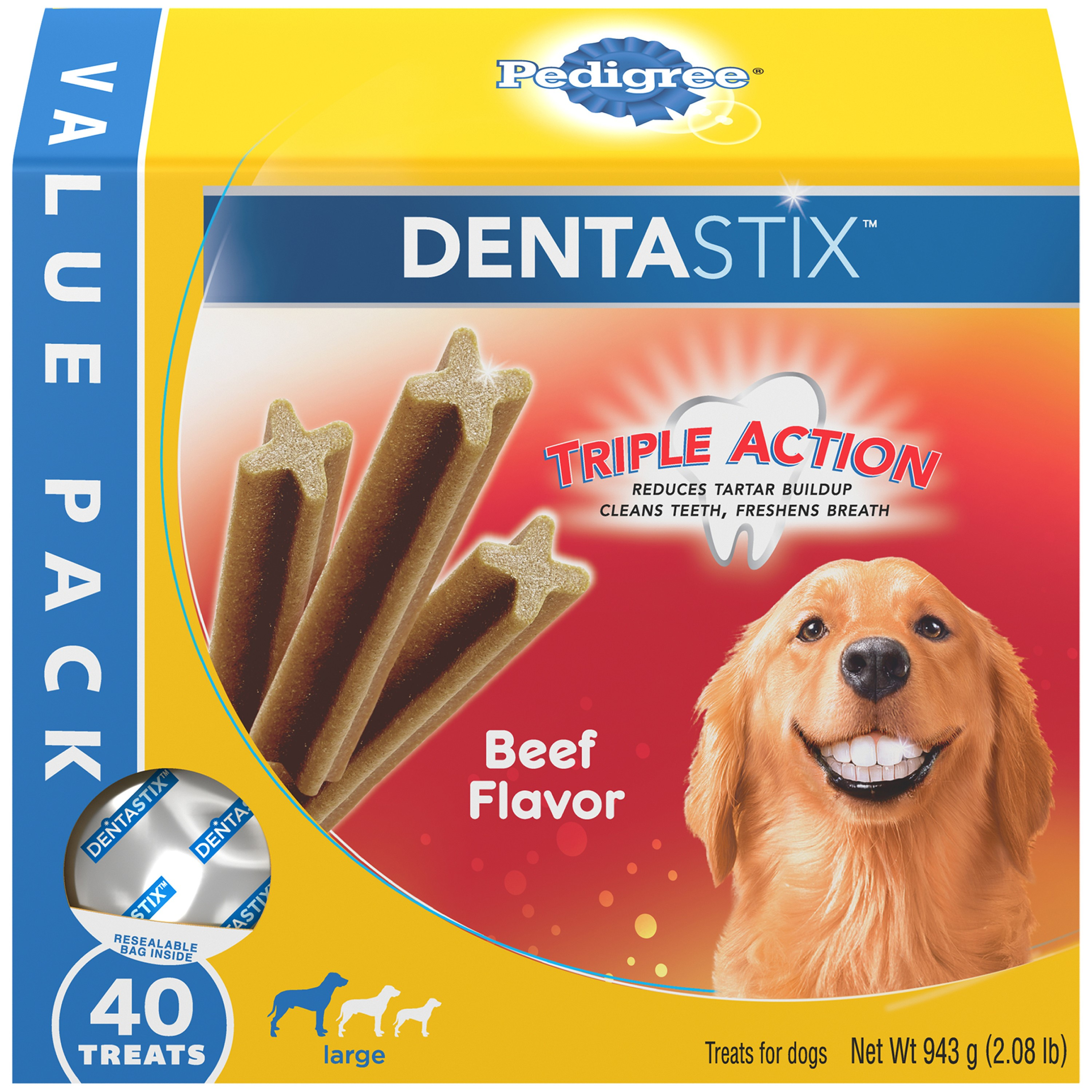 Pedigree Dentastix Beef Flavor Large Dog Treats 2.08 lb Value Pack, 40 Treats by Mars Petcare