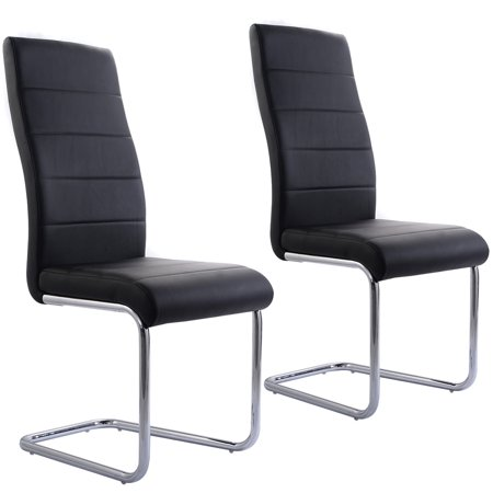 Costway Set Of 48 PU Leather Dining Chairs Elegant Design High Back Interesting Back Home Furniture