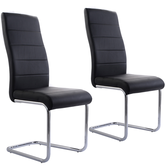 back home furniture. Costway Set Of 2 PU Leather Dining Chairs Elegant Design High Back Home Furniture Black