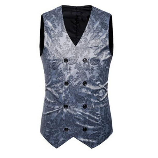 Details about  /Mens Formal Business Slim Fit Chain Dress Vest Suit Tuxedo Waistcoat Wedding New
