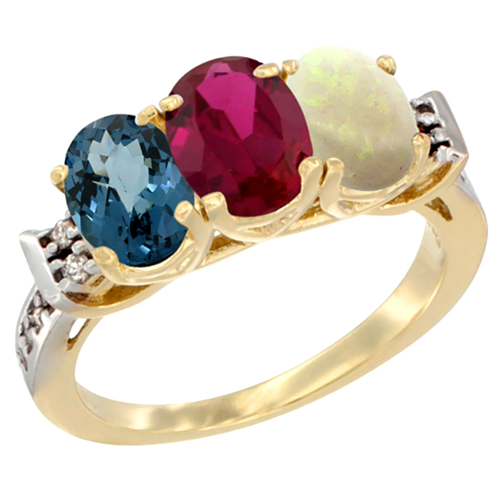 10K Yellow Gold Natural London Blue Topaz, Enhanced Ruby & Natural Opal Ring 3-Stone Oval 7x5 mm Diamond Accent, sizes 5... by WorldJewels