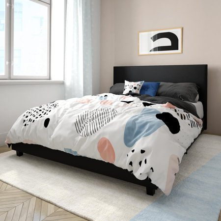 Mainstays Upholstered Bed, Queen - Black Faux Leather ...