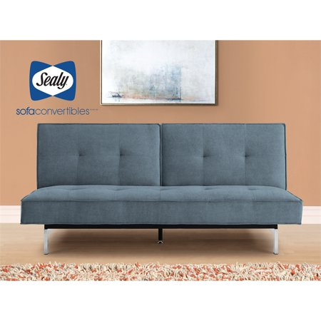 Sealy Anson Transitional Split-back Convertible Microfiber Sofa in Blue