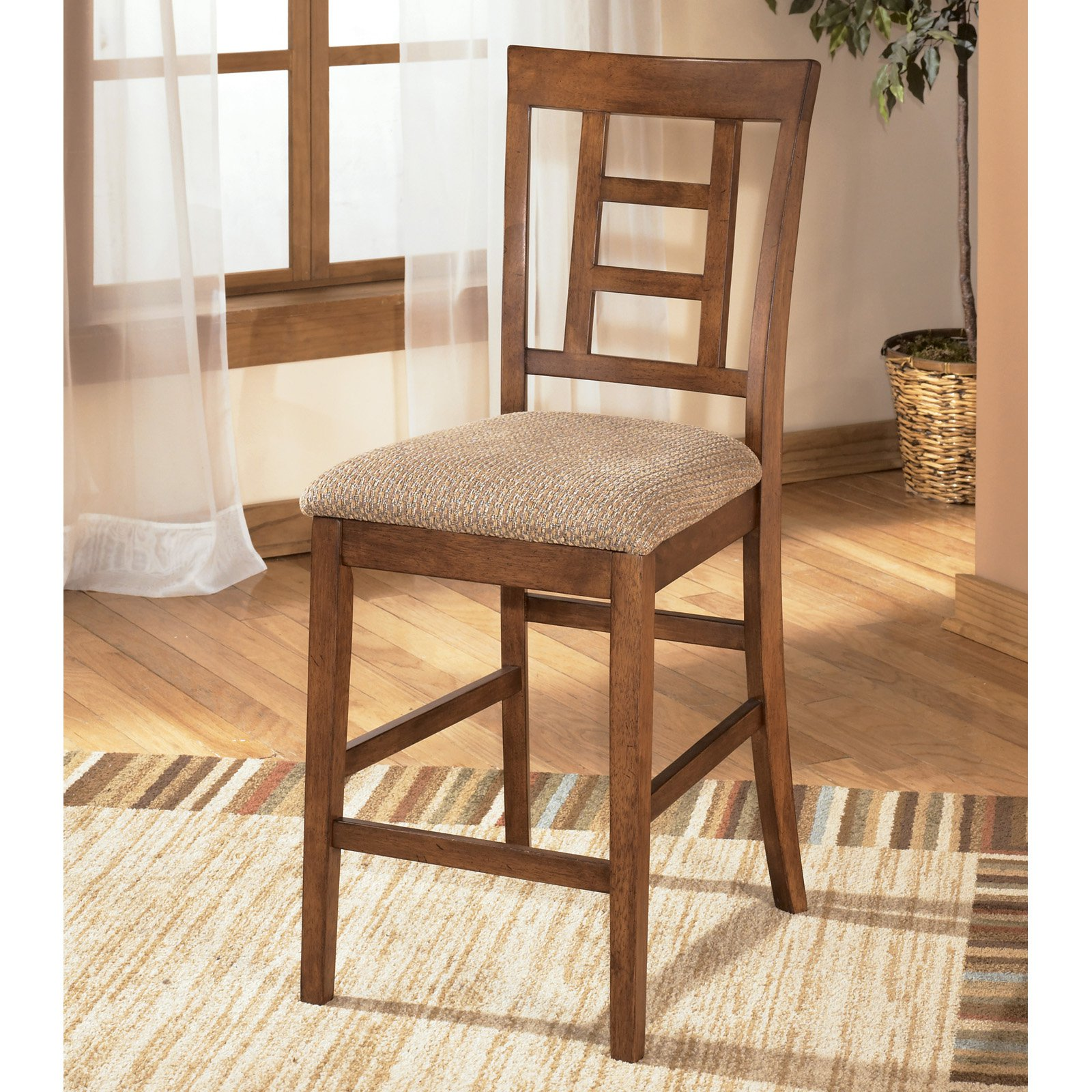 Ashley Cross Island Medium Brown Upholstered Barstool Set of 2 D319-324