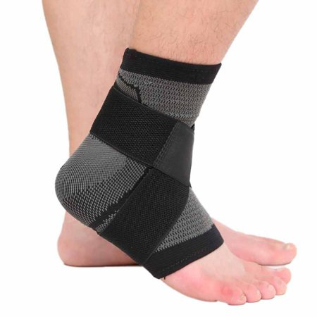 1pc Ankle Support Nylon Spandex Latex 360 Degree Protection Elastic Breathable Anti-slip Foot Sleeve Heel Cover Protective Wrap Sportswear for Plantar Fasciitis and Ankle Support Black Nylon Sling