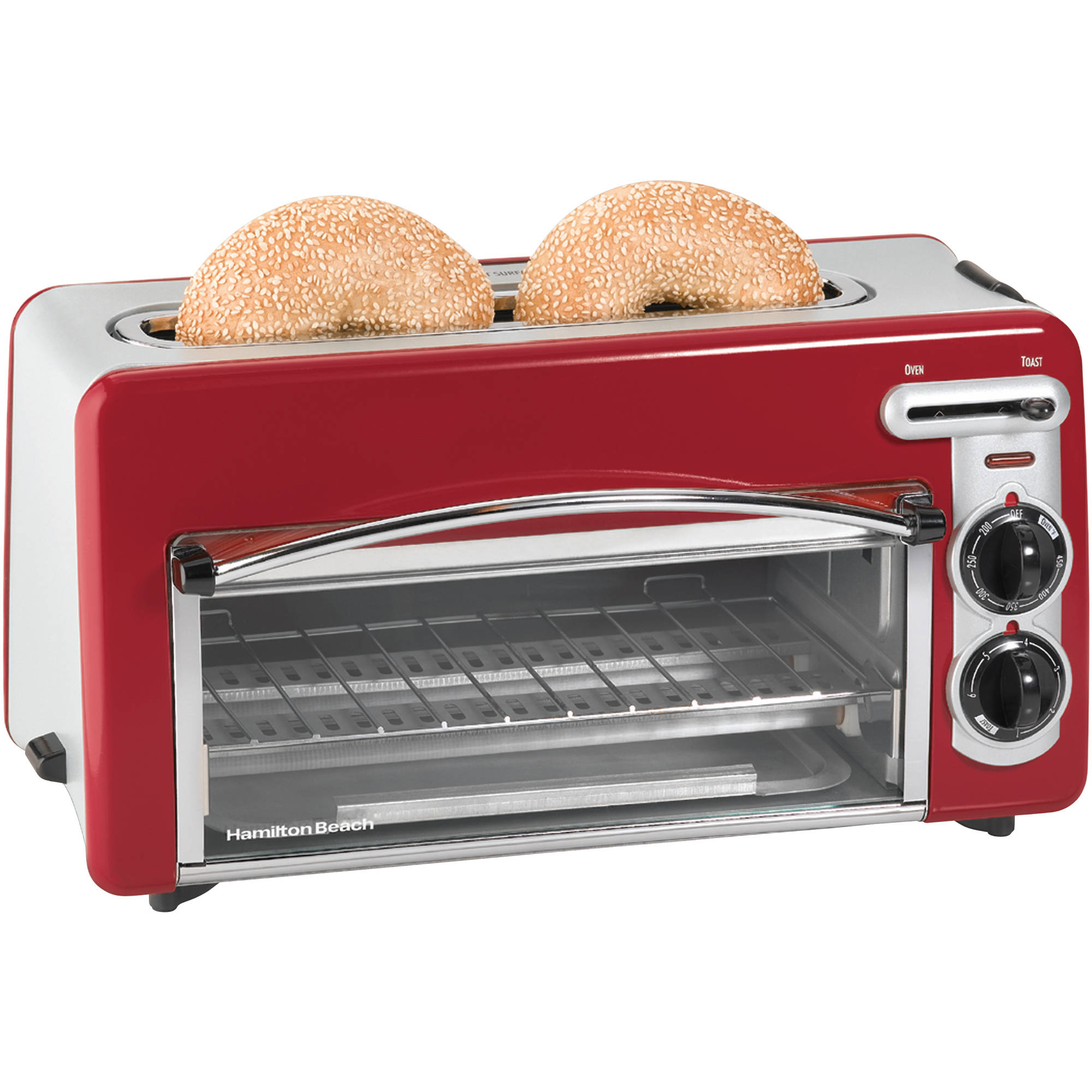 Hamilton Beach Toastation 2 in 1 2 Slice Toaster & Oven In Red