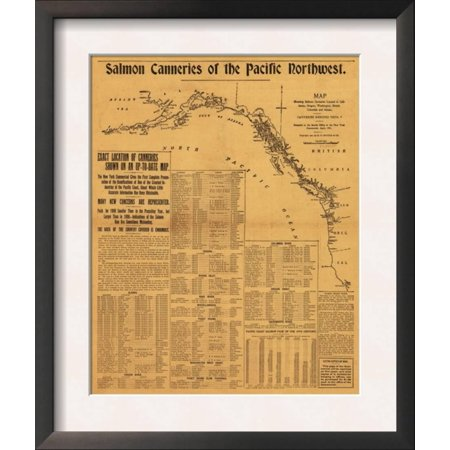 - Salmon Canneries of the Pacific Northwest - Panoramic Map Framed Art Print Wall Art