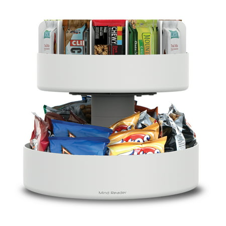 2 Tier Lazy Susan Granola Bar and Snack Organizer, Home, Office, Breakroom, White ()