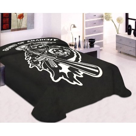 Soft Plush Mink Thick Blanket Sons of Anarchy Reaper Printed - Queen Full Size ()