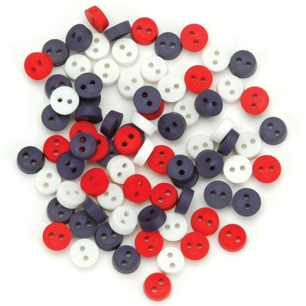 Dress It Up Embellishments-Tiny Patriotic Buttons