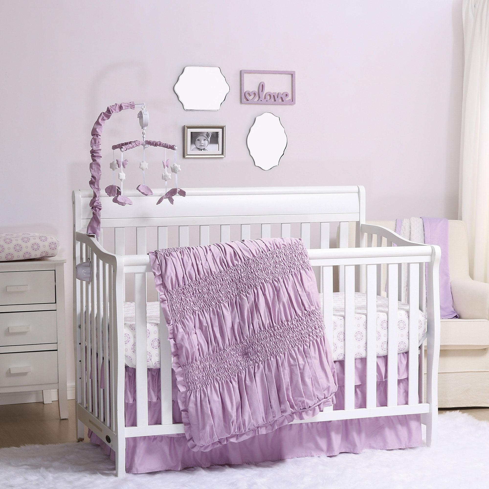 Lilac Kisses Purple Baby Girl Crib Bedding - 20 Piece Nursery Essentials Set
