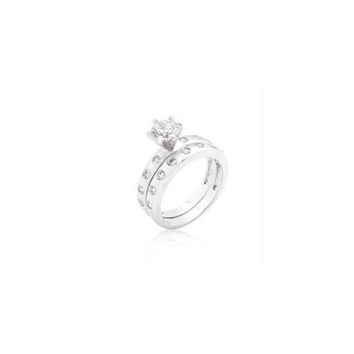 Bezel Set Round Cut Bridal Ring Set, <b>Size :</b> 07