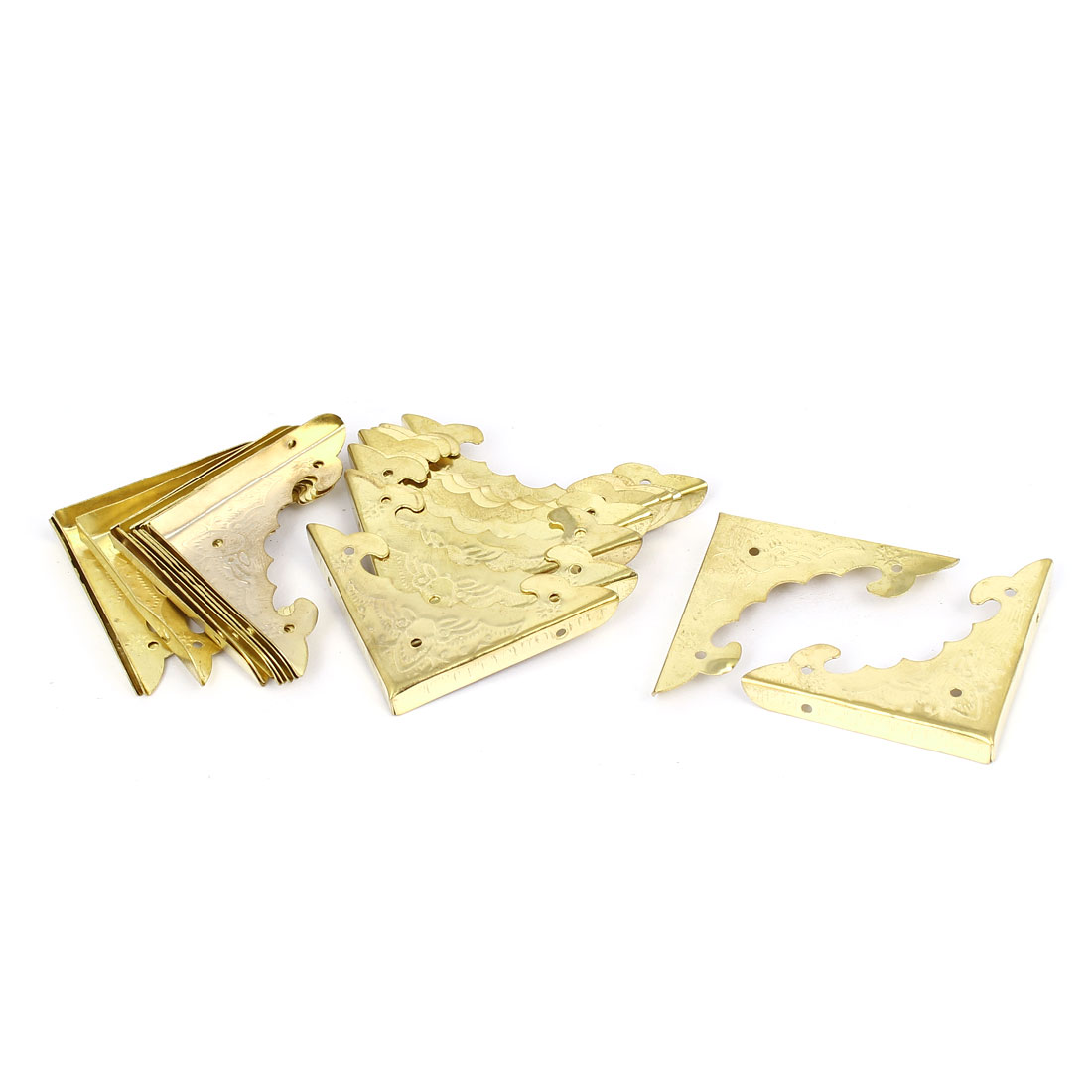 Jewelry Gift Box Picture Frame Corner Cover Protector Guard Gold Tone 20pcs