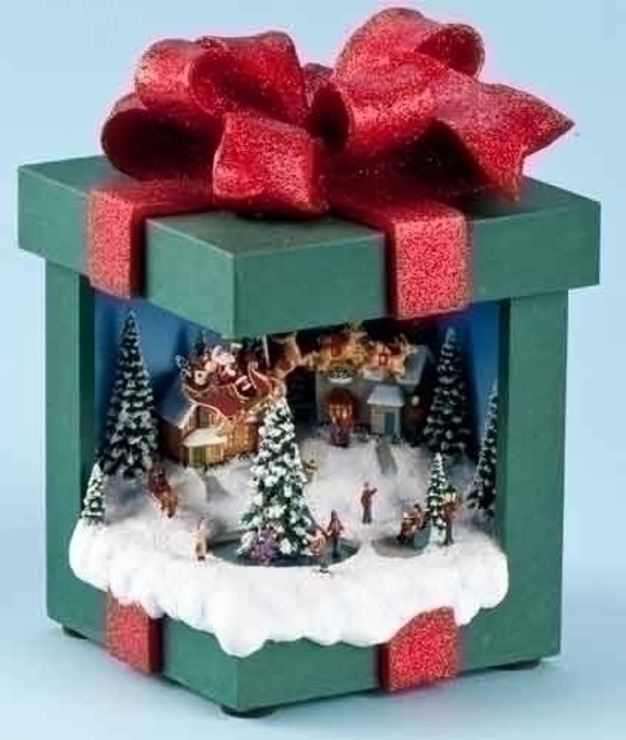 775 Amusements Lighted Animated Christmas Present Music Box With Winter Scene