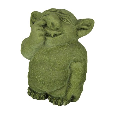 - Adorable Nose Picking Troll Mossy Green Concrete Garden Statue