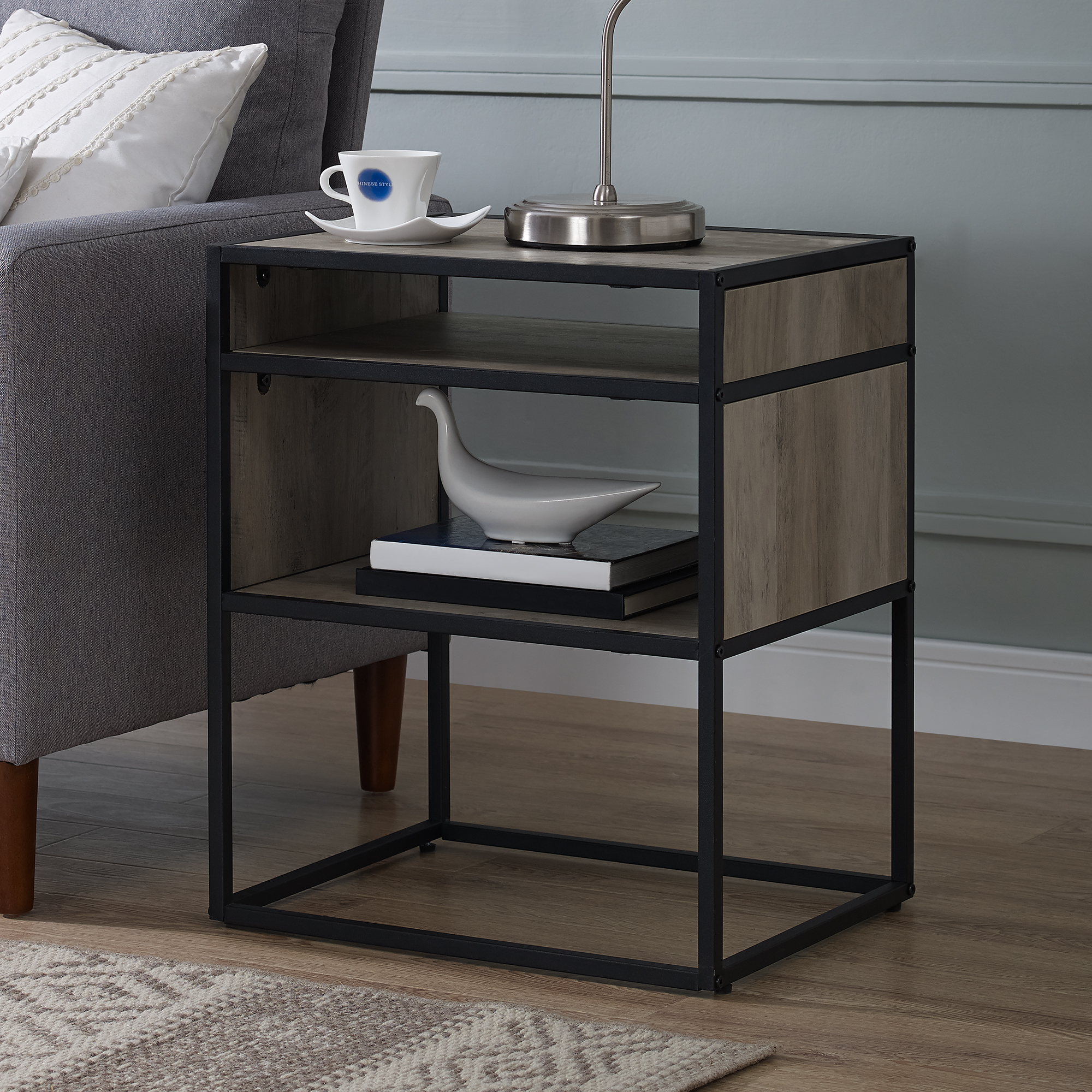 Manor Park Industrial Modern Wood and Metal End Table - Grey Wash