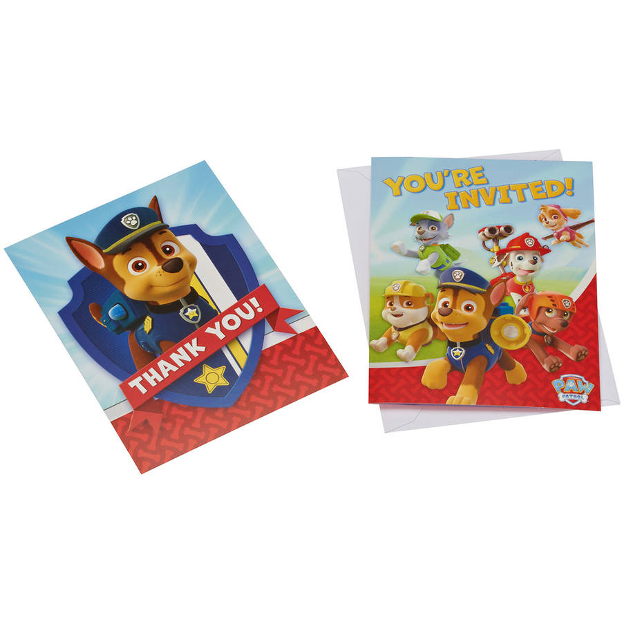 PAW Patrol Party Invite and Thank-You Combo Pack, 8ct