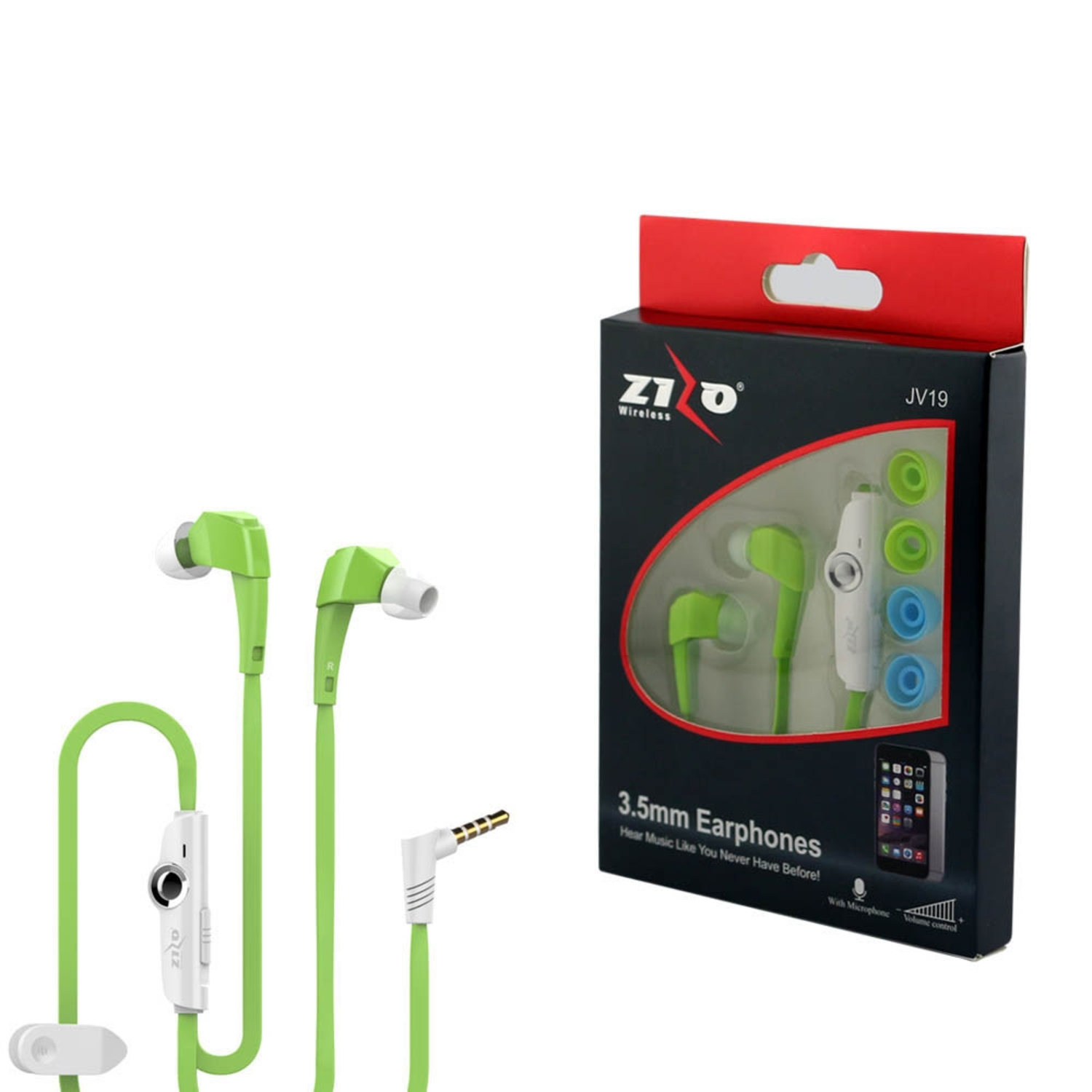 Insten 3.5mm JV19 Stereo Hands-free Headphone Earbuds w\/ Microphone For Android IOS Smartphone - Neon Green