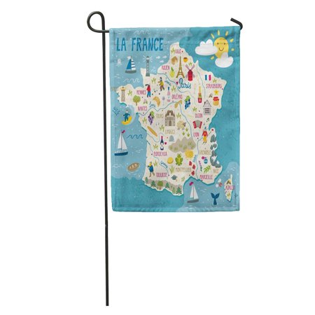 - LADDKE Wine Map of France Travel French Landmarks People Food and Region Europe Garden Flag Decorative Flag House Banner 28x40 inch