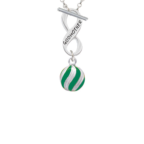 3-D Green and Striped Ornament Godmother Infinity Toggle Chain Necklace