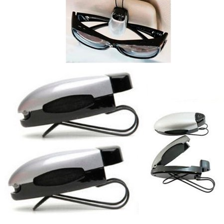 6 Pc Silver Black Car Sun Visor Clip Holders Sunglasses Reading Eyeglasses Card