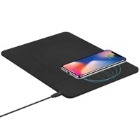 Tzumi Wireless Charging Pad and Rechargeable Wireless Mouse - Built-in Wireless Charging Phone Stand for all Qi-Enabled Devices