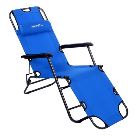 Ancheer Folding Lounge Patio Chair Outdoor Reclining Beach Chaise With Pillow