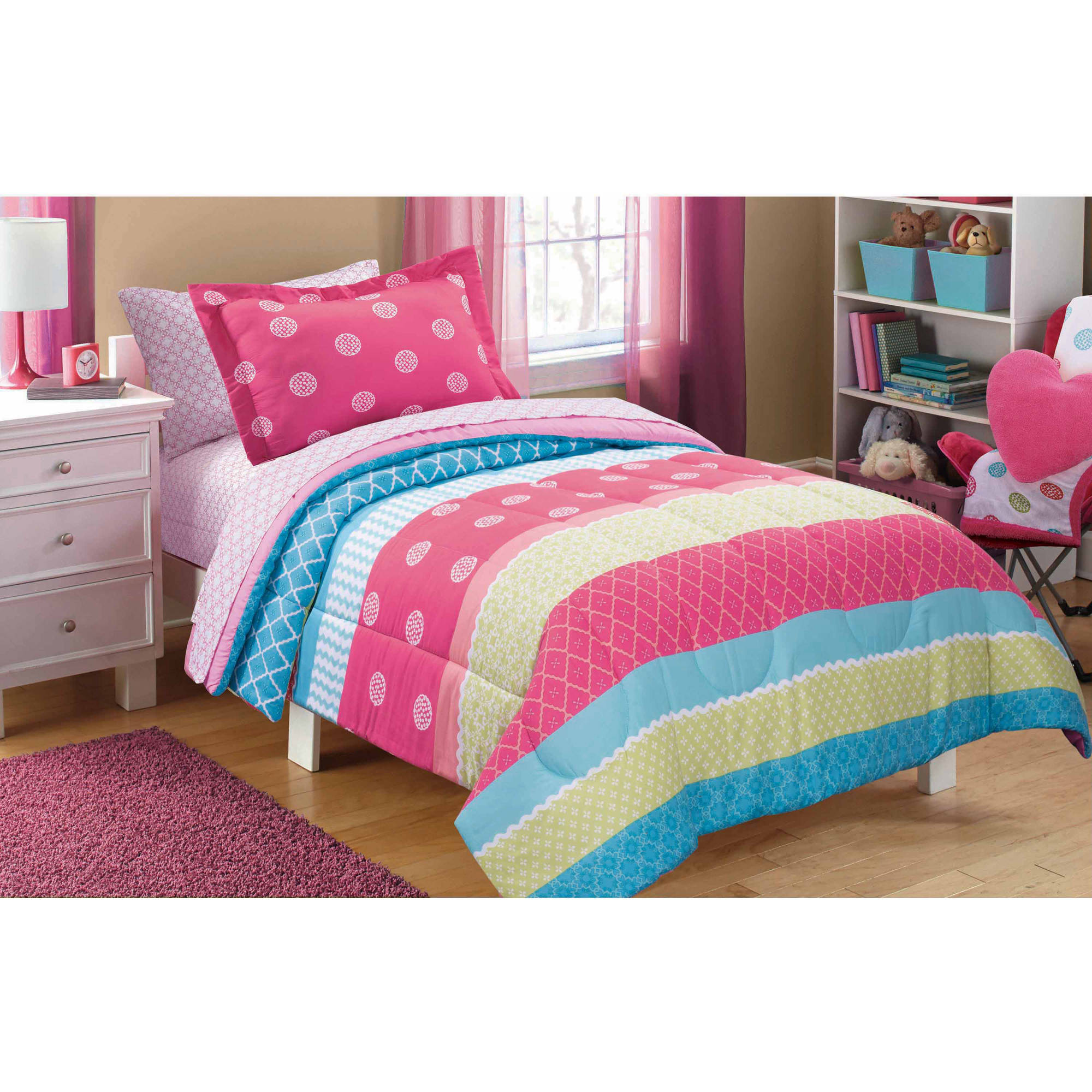 Great Mainstays Kids Mix It Up Bed In A Bag Bedding Set   Walmart.com