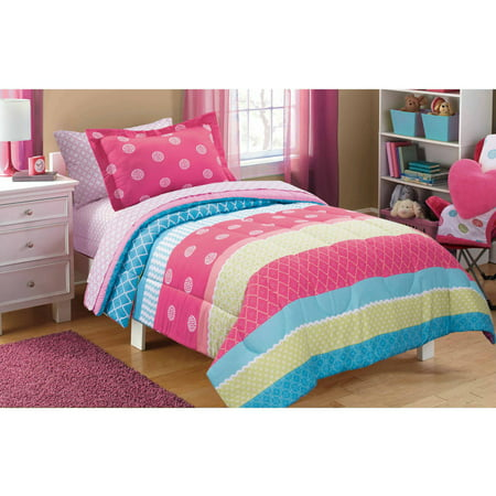 mainstays kids mix it up bed in a bag bedding set. Black Bedroom Furniture Sets. Home Design Ideas