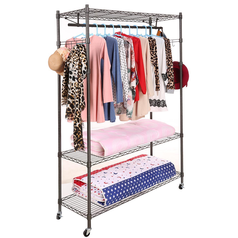 Clearence&Sale!  3-Tier Clothes Hangers Rack Closets Storage Clothes Wardrobe Organizer Garment Rack Wire Shelving HFON HFON