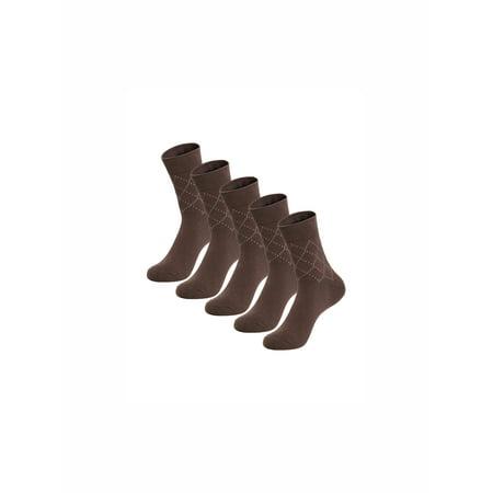 Unique Bargains Men's Elastic Cuff Ankle Length Argyle Pattern Socks 5 Pack Brown (Size (Argyle Anklet)