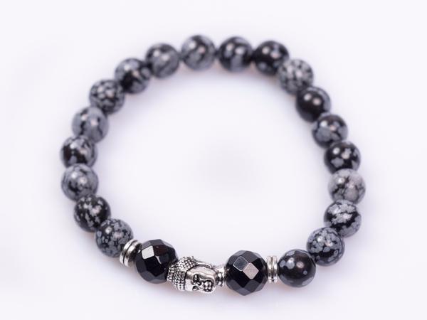 Snowflakes Obsidian Beads Stretchable Fashion Jewelry Fashionable Wrist Bracelet