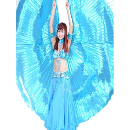 BellyLady Belly Dance Costume Isis Wings With Sticks, Egyptian 360 Degrees Wing-Lakeblue