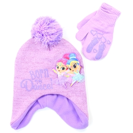 Shimmer and Shine Scandinavian Winter Hat and Mitten Set ? size Toddler 2 ? 5