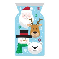 Club Pack of 144 Blue and White Christmas Characters Themed Favor Bags with Zipper 9""