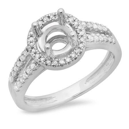 0.33 Carat (ctw) 18K White Gold Round Diamond Ladies Split Shank Bridal Semi Mount Engagement Ring 1/3 CT (No Center Sto