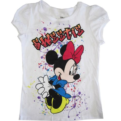 "Disney Little Girls White Minnie Mouse ""Sweetie"" Short Sleeve Shirt Top 6X"