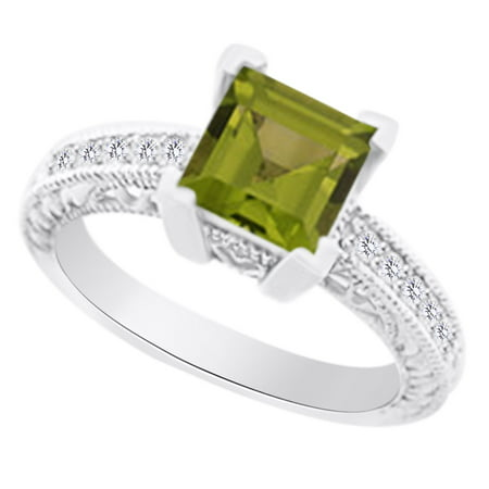 (1.85 cttw) Simulated Green Peridot & White Natural Diamond Antique Style Engagement Wedding Ring In 14k White Gold With Ring Size 4