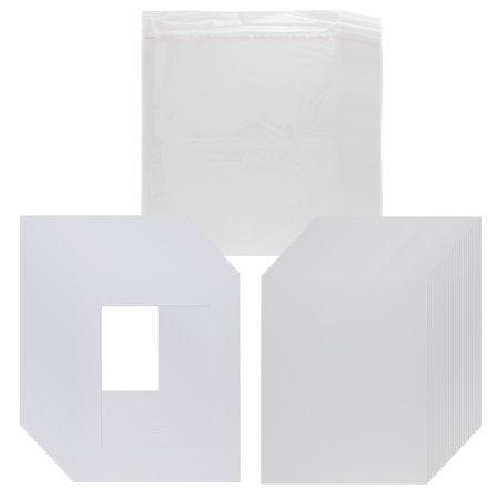 Viewpoint Pack of 25 Picture Mats Pre Cut for 5x7 Photos or Art, White Core Bevel, Set Includes Backing Board & Clear Sealable Bags - White