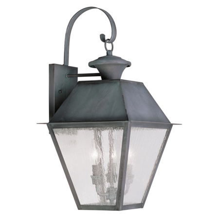 Wall Sconces 3 Light With Seeded Glass Charcoal Finish size 24 in 180 Watts - World of Crystal ()