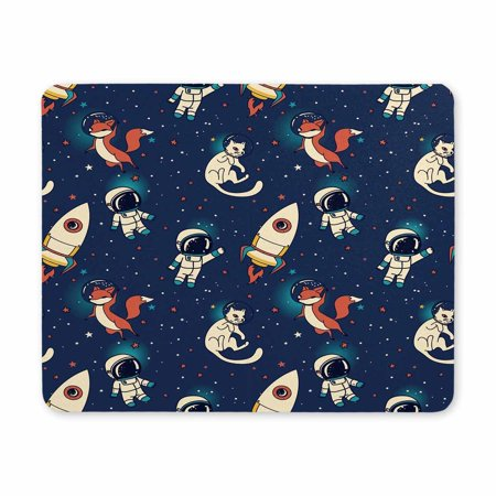 POP Cosmic Cute Doodle Boys, Rockets, Foxes and Cats Floating in Space Printed Mousepad Non Slip Rubber Gaming Mouse Pad 9x10 inch - image 2 of 2