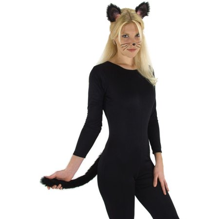 Black Cat Ears and Tail Halloween Accessory - Black Light Halloween Makeup