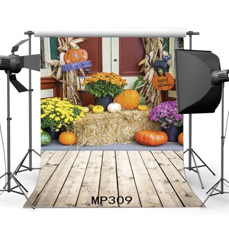 HelloDecor Polyster 5x7ft Hallowmas Backdrop Happy Halloween Trick or Treat Pumpkin Fresh Flowers Straw Hay Bale Vintage Stripes Wood Floor Photography Background Kids Masquerade photo Studio Props - Cute Happy Halloween Background