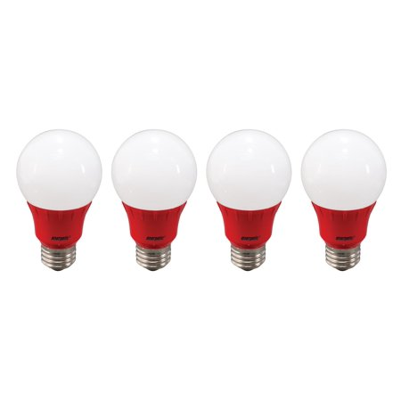Energetic LED Color Light Bulbs, 3W (40W Equivalent), Red, A19 Shape, E26 Base, UL Listed, 4-count