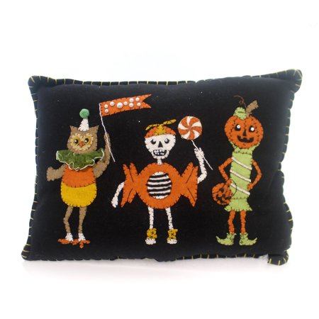 Halloween SWEET TREATS TRIO PILLOW Fabric Wool Owl Skeleton Pumpkin Rl5771